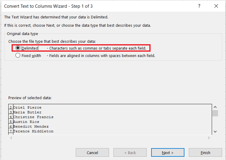 Set the data type as Delimited