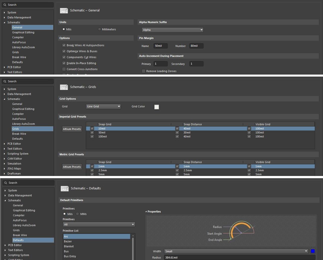 Captura de pantalla de las preferencias esquemáticas de AD18 para cambiar de MM a mil