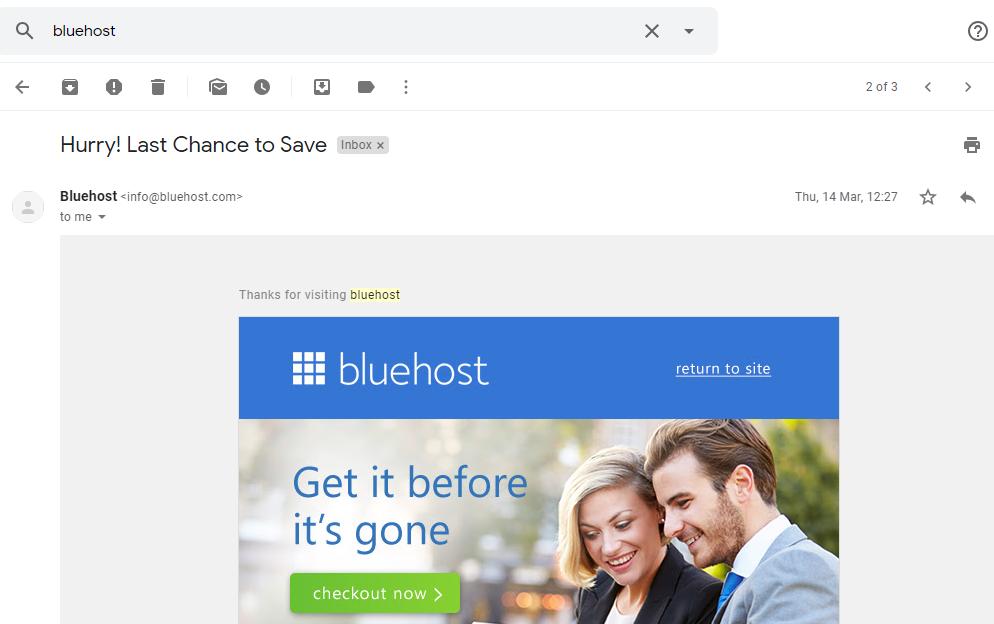bluehost remarketing screenshot
