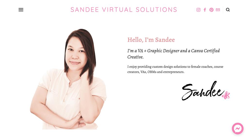 página inicial da assistente virtual sandee