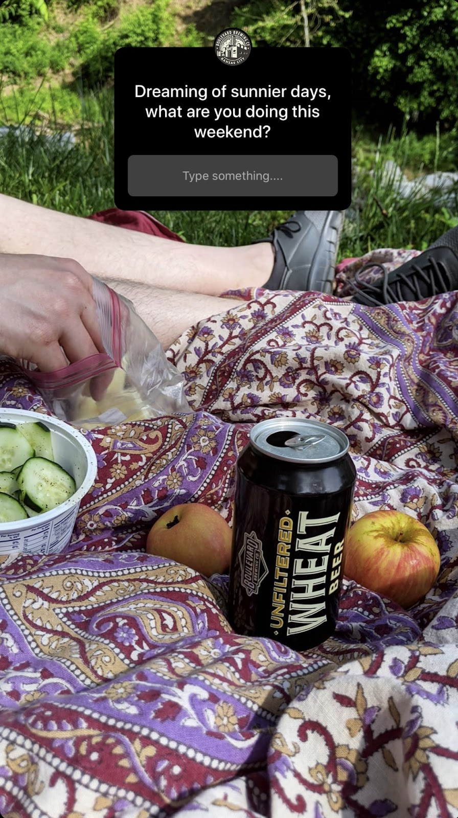A Boulevard Beer Instagram story with a photo of a picnic outside and a question asking, 'What are you doing this weekend?'
