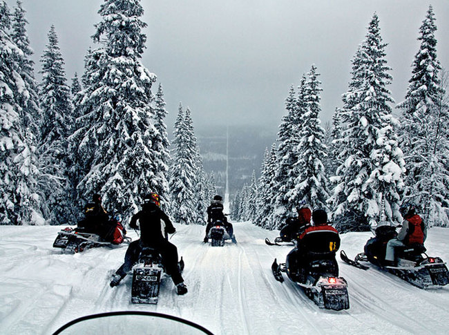 1) Norway and Sweden - Snowmobilers line up to ride the pathway of removed trees making up the border between the two Nordic nations.