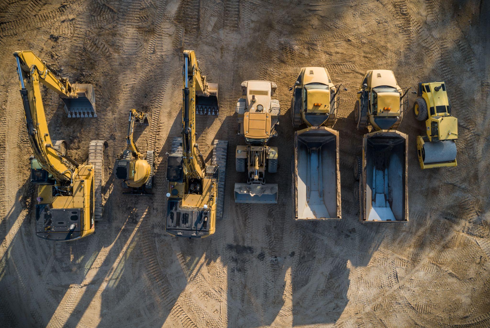 Overhead shot of various construction equipment