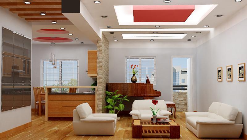 Phối màu tinh tế giúp tạo một mẫu trần thạch cao phòng khách tuyệt vời