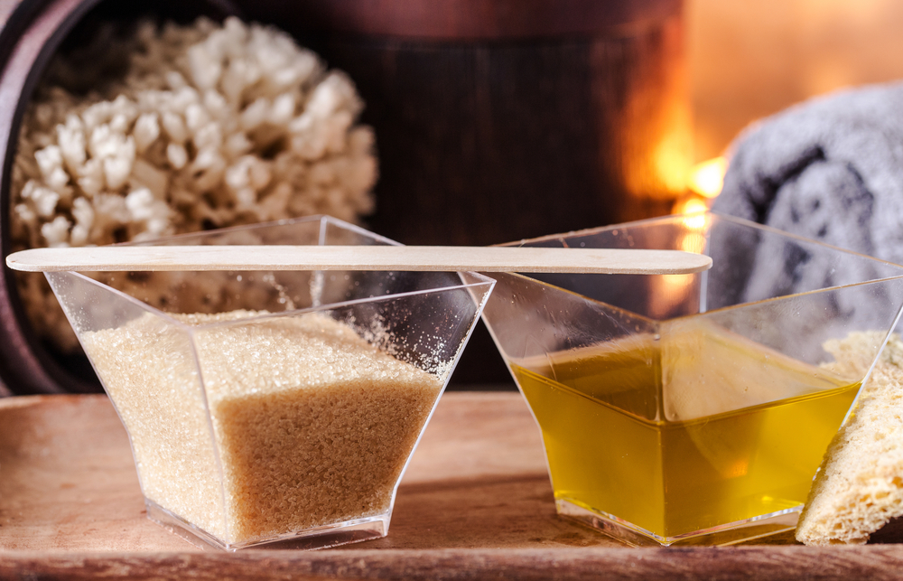 Combination of olive oil and sugar can be used to create a natural moisturizing exfoliating scrub.
