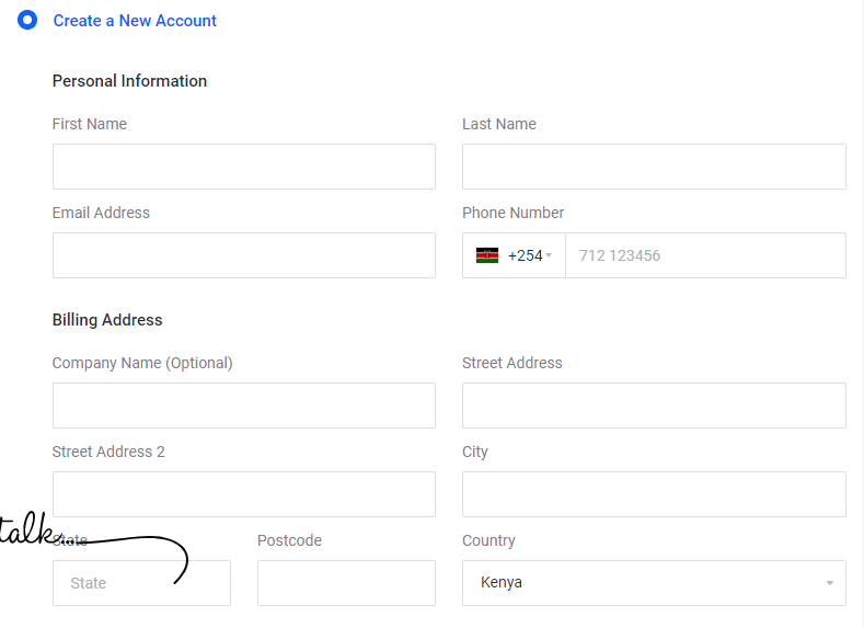 creating customer account to start a website in Kenya