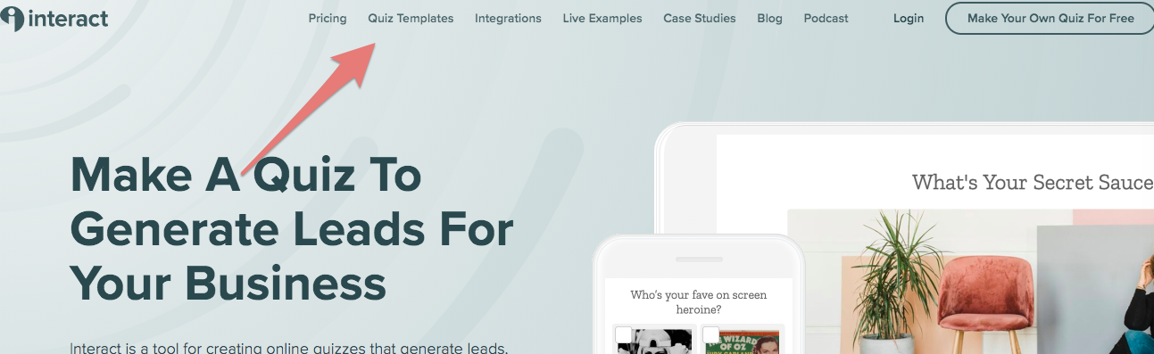 Quiz templates link at top of Interact home page