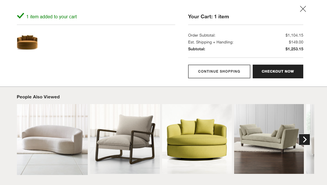Crate and barrel checkout personalizations