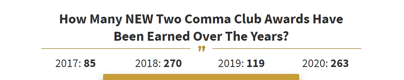 Clickfunnels two comma club statistics