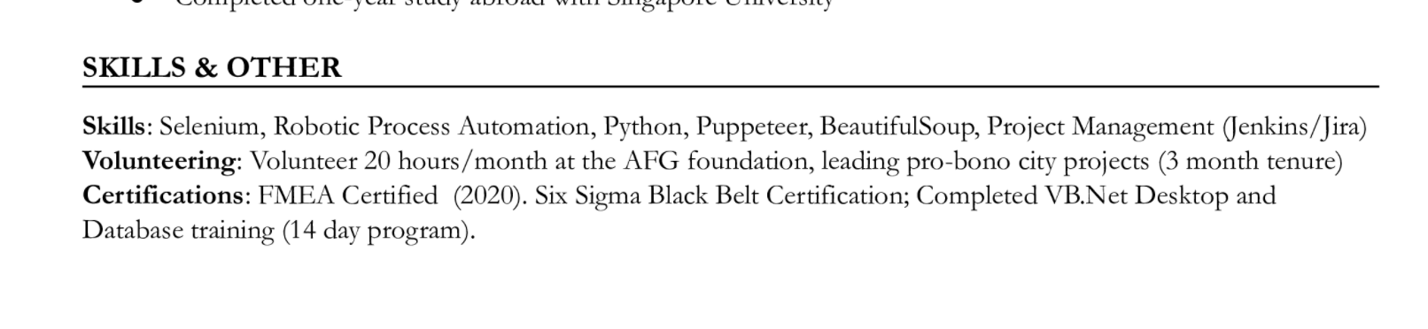 """Skills, volunteering activities, and certifications are combined into a """"Skills & Other"""" section in this resume"""