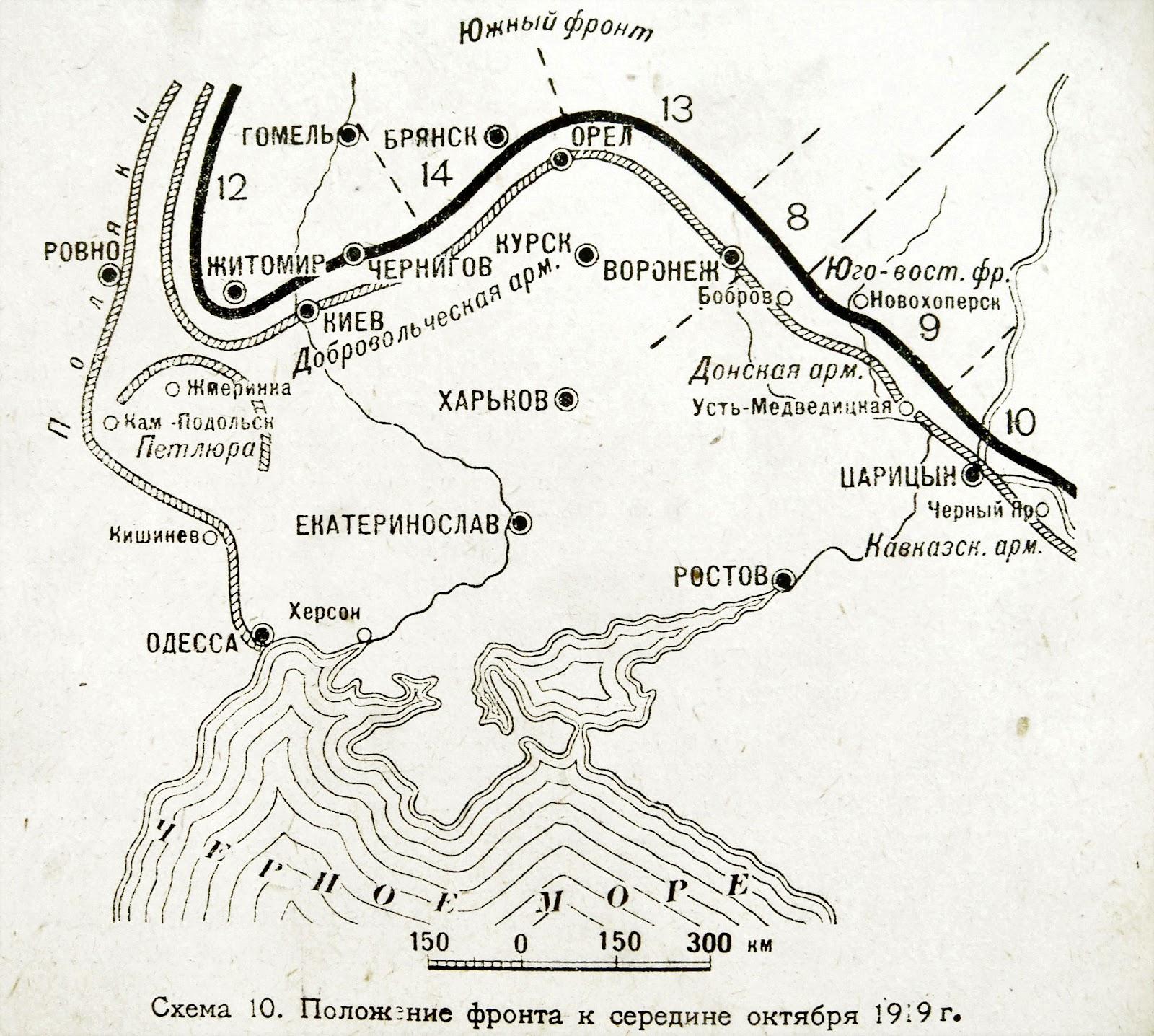 """Становище фронтів на середину жовтня 1919-го. Мапа з книги О. І. Єгорова """"Разгром Деникина, 1919"""" (М., 1931)"""