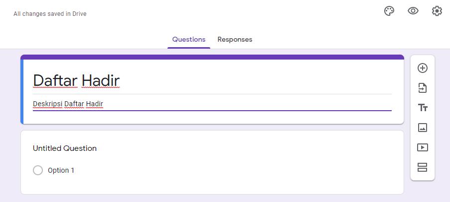 Membuat judul Google Form