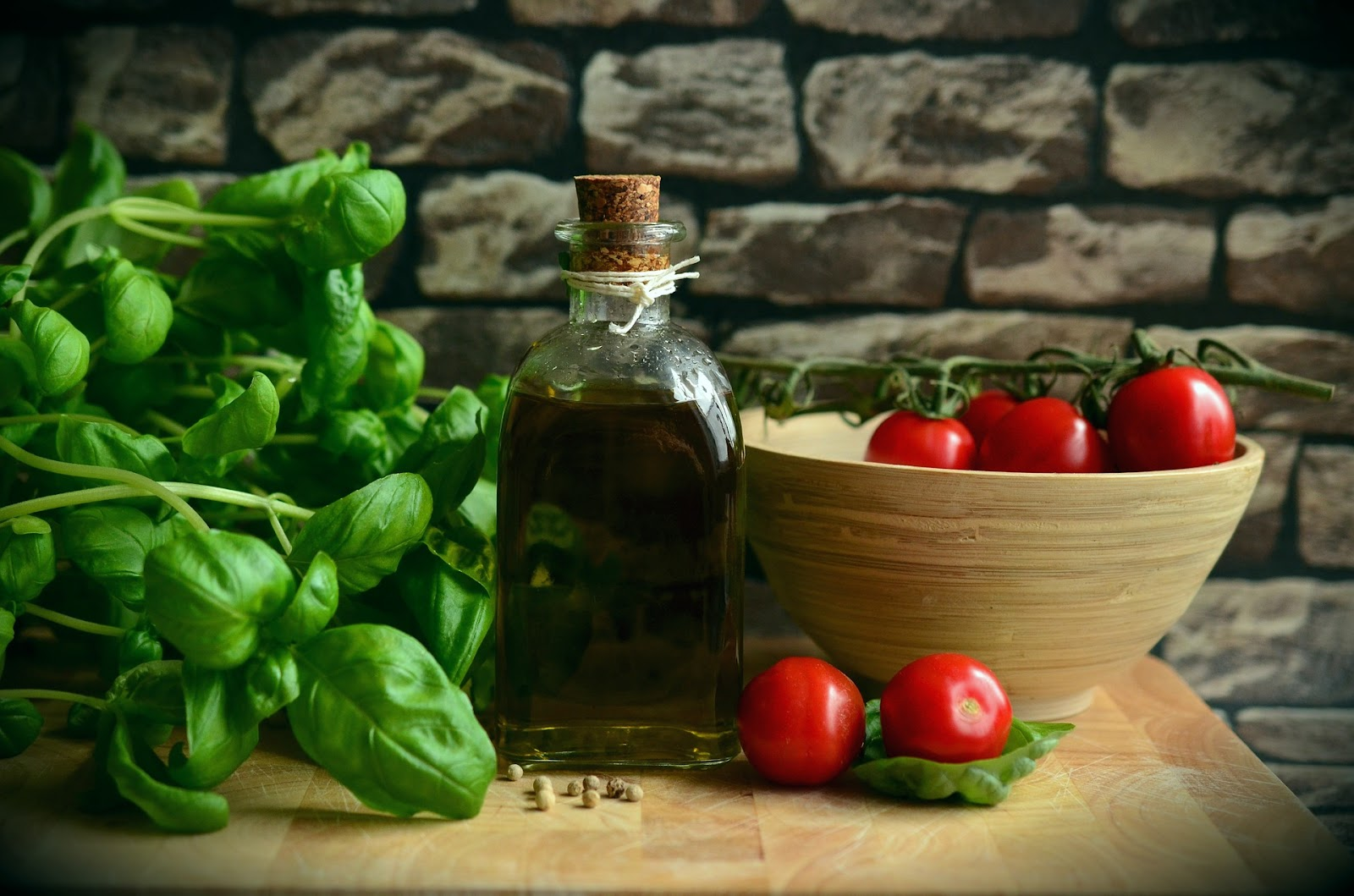 Olive oil and salad ingredients