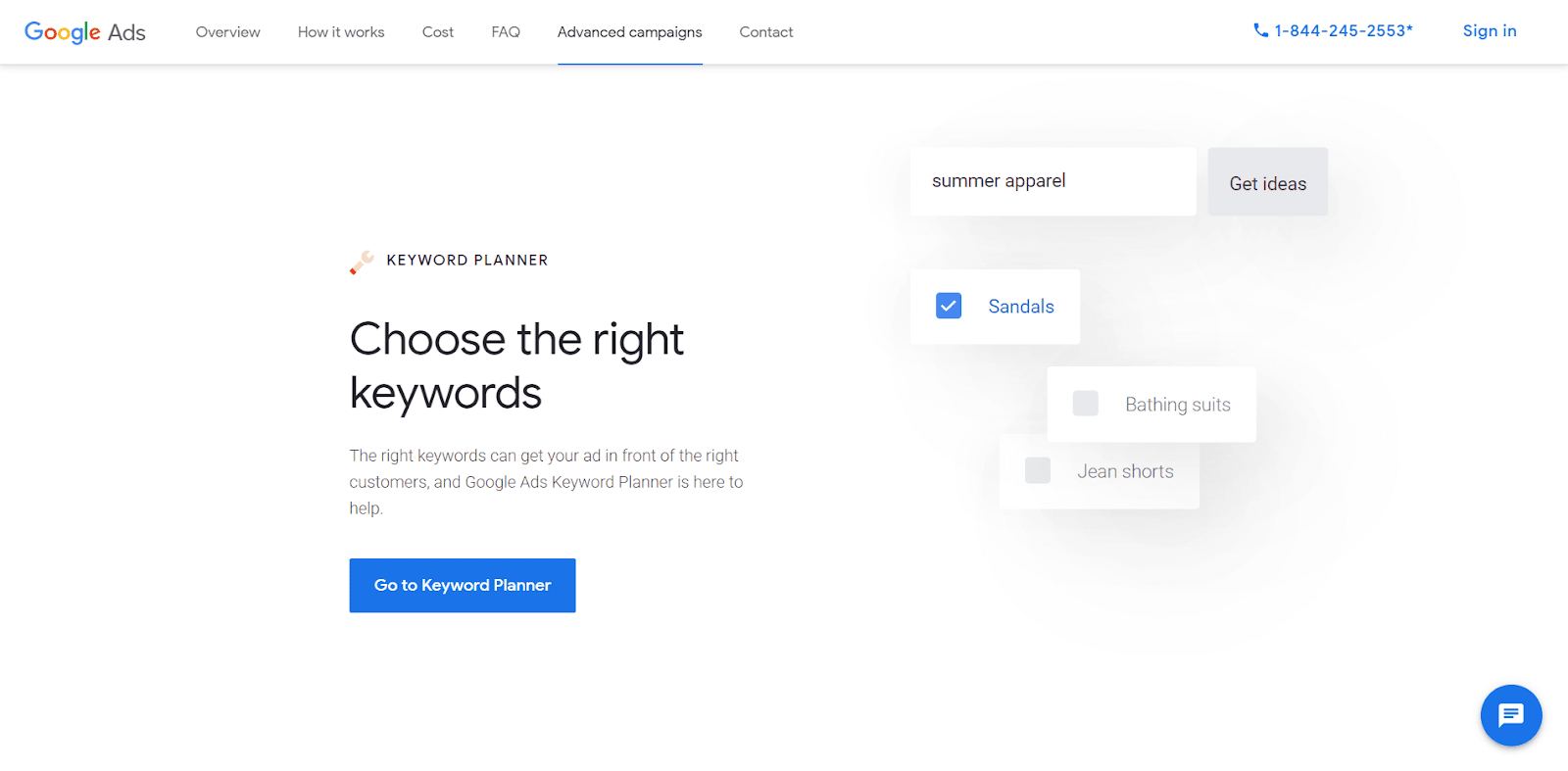The homepage for the Google Keyword Planner.
