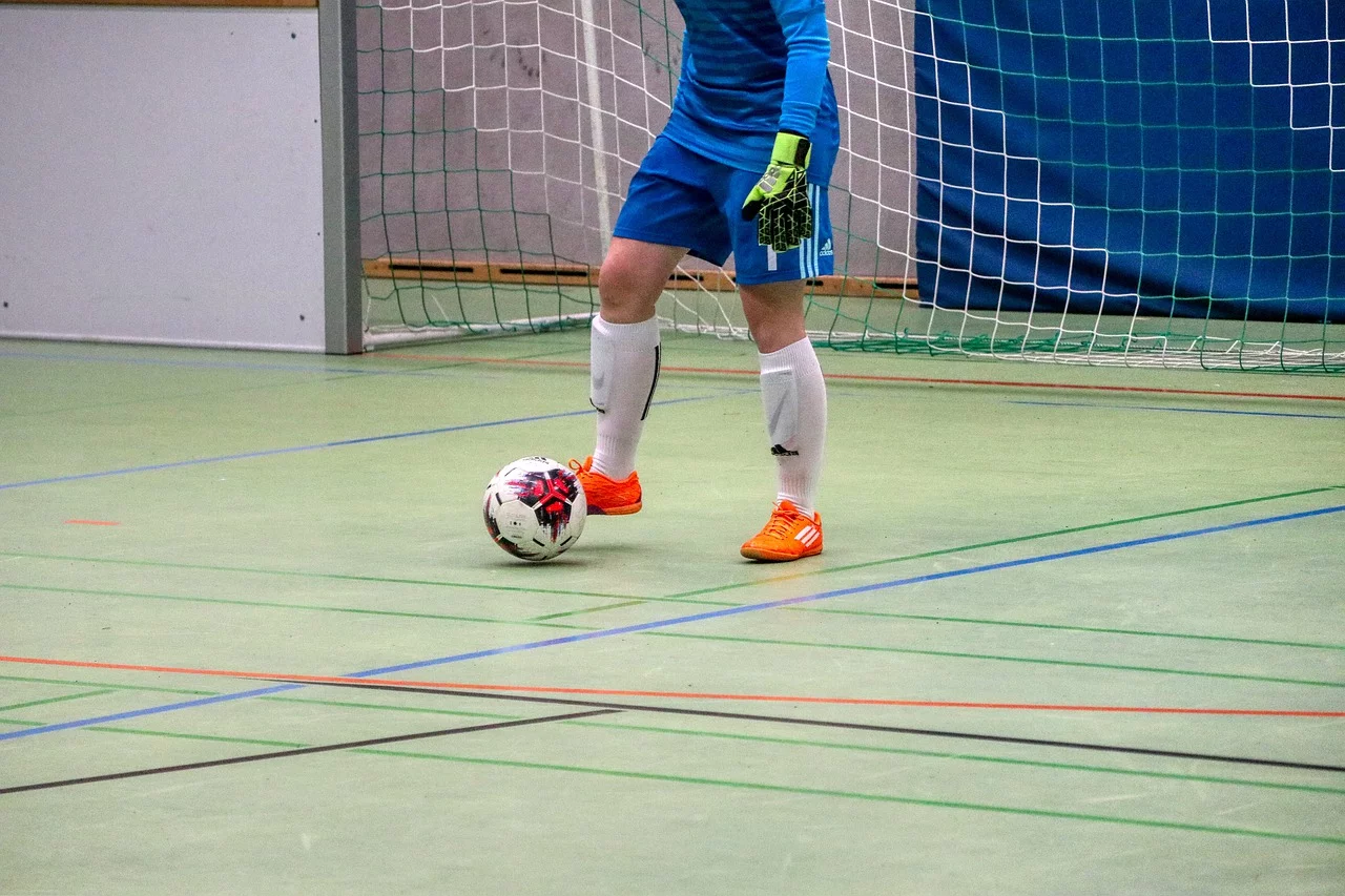 Goalkeeper wearing Indoor Soccer Shoes