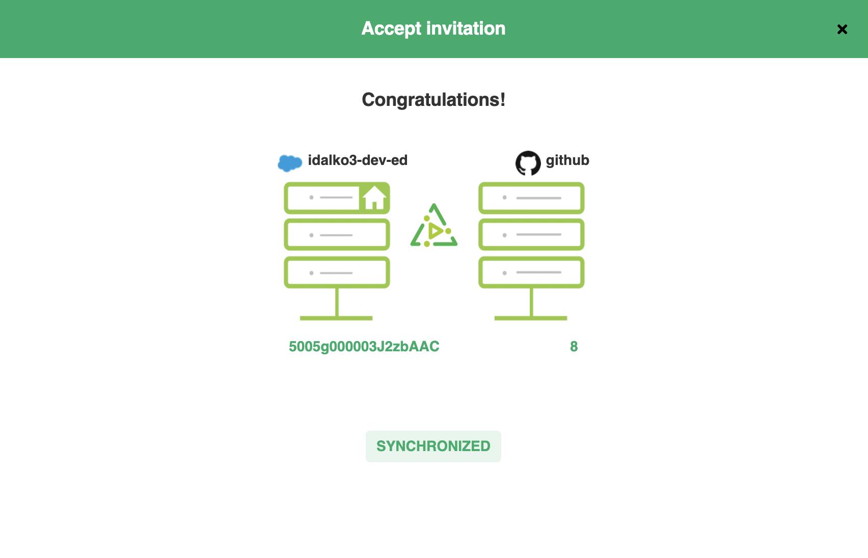 successful Salesforce Github sync