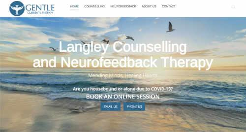 GentleCurrentsTherapy.com Home Page Screenshot - Clinical Counselling office of Dr. Mike Dadson in Langley, BC Canada