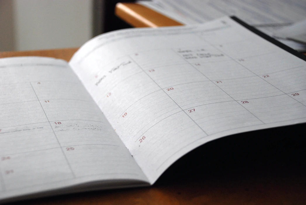 a monthly planner with important interview dates