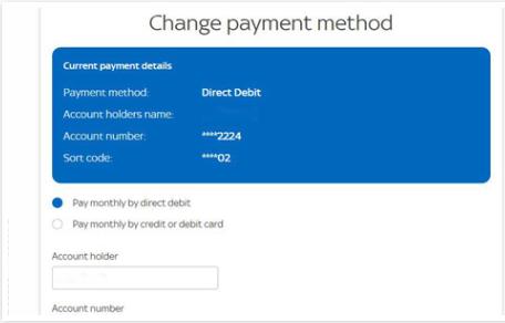 sky payment method
