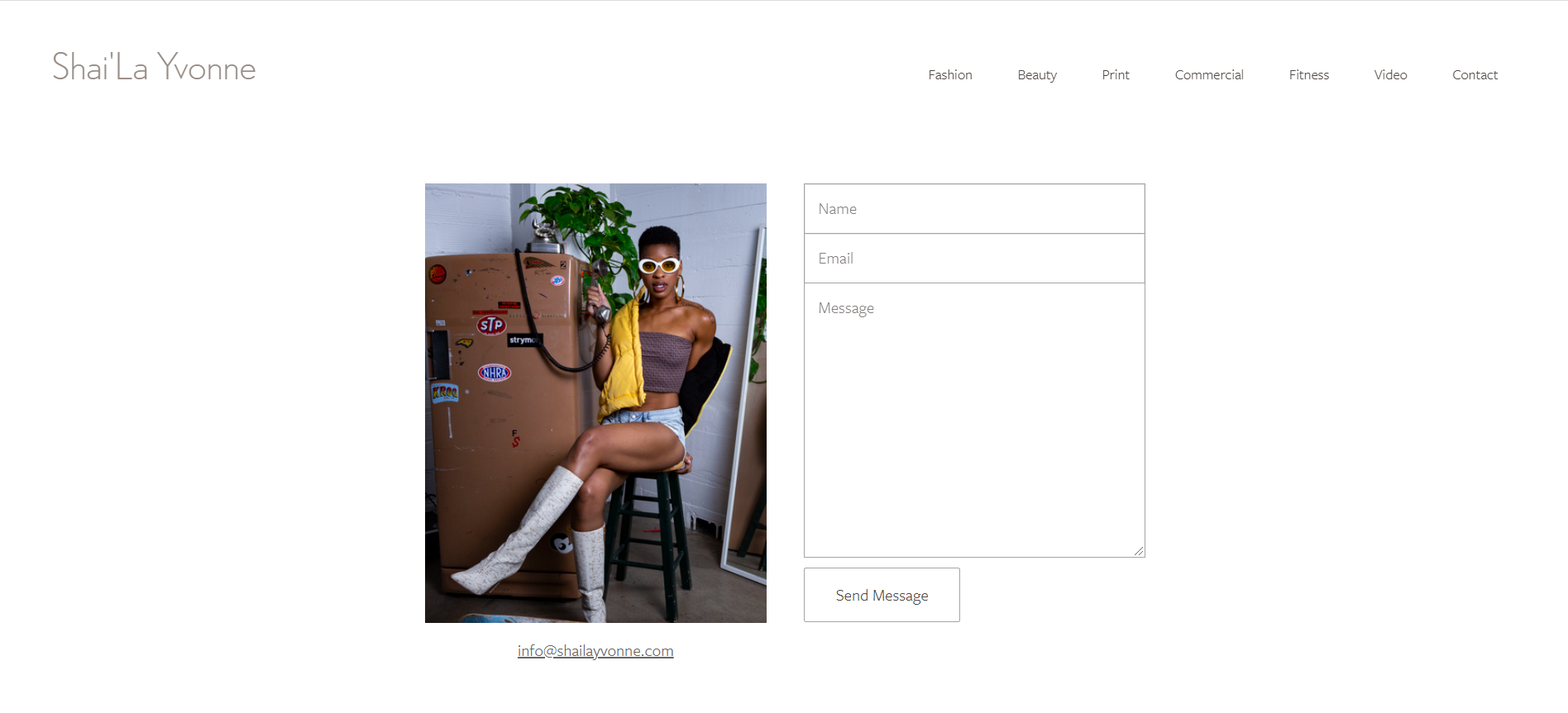 An example of a contact page of a model portfolio website