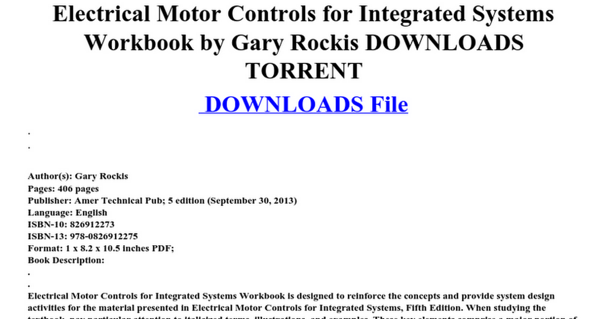 Electrical motor controls for integrated systems workbook by gary ...