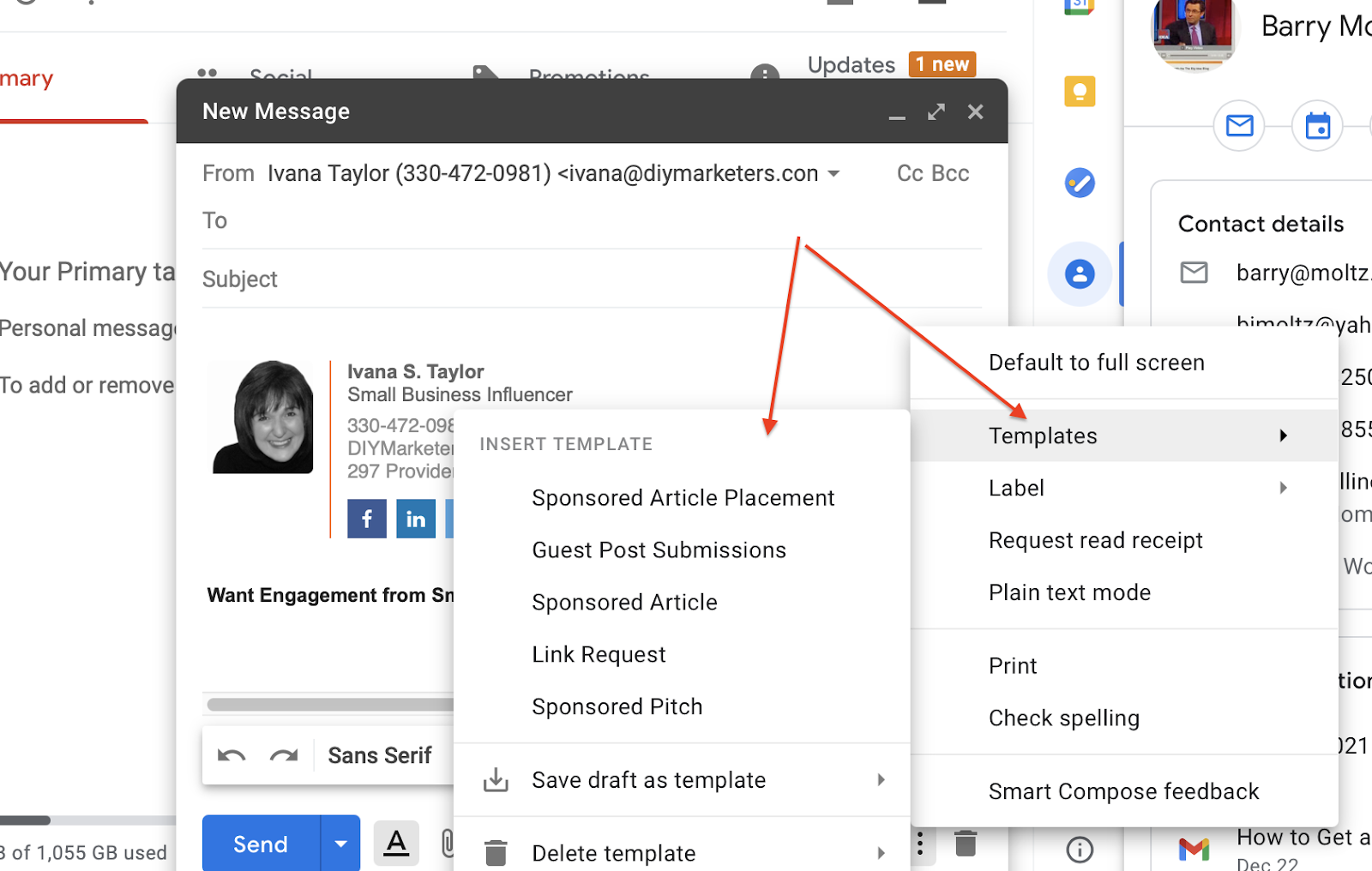 Use templates in Gmail to save time in sending repetitive emails