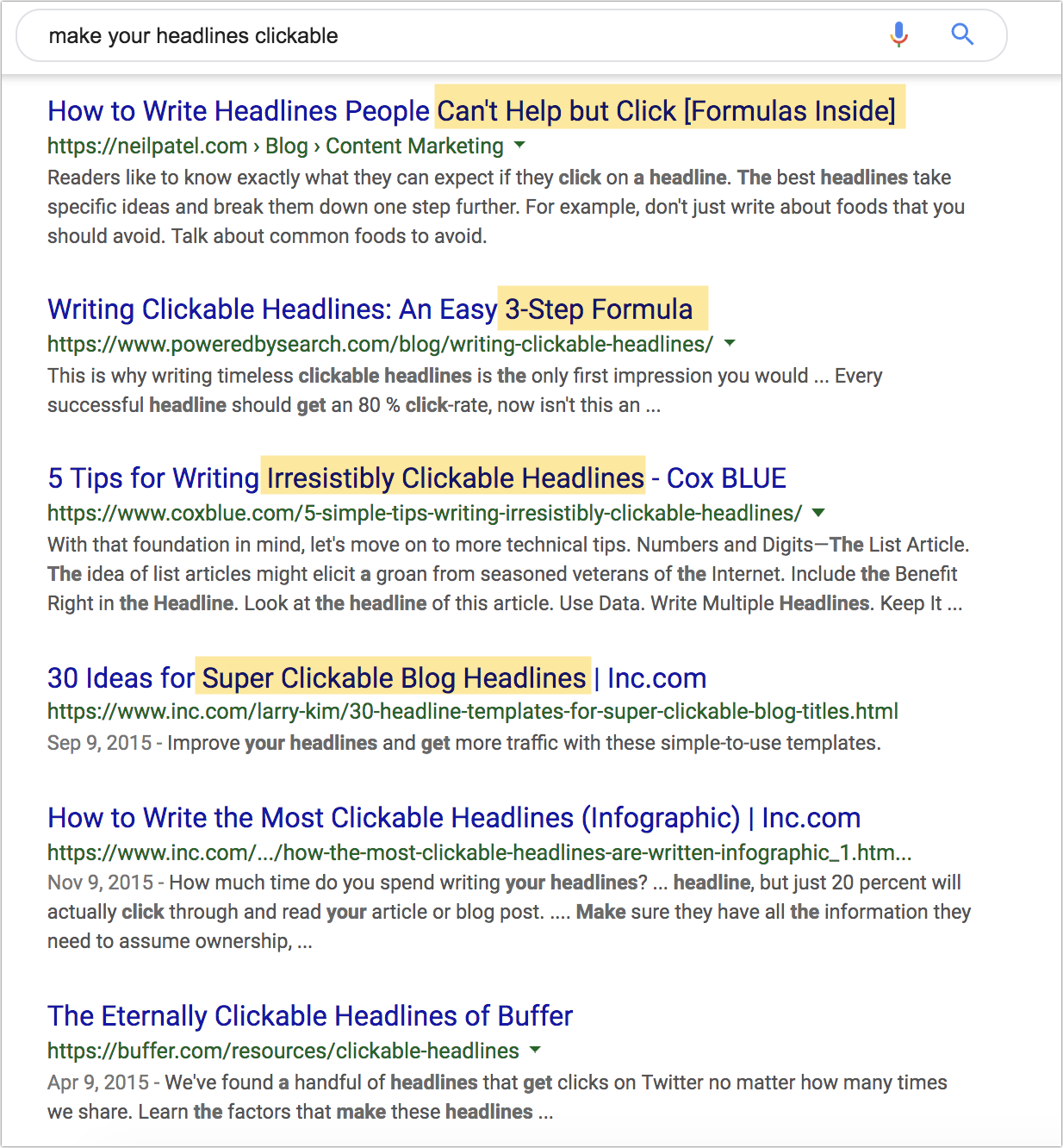 example of headlines in google search results.