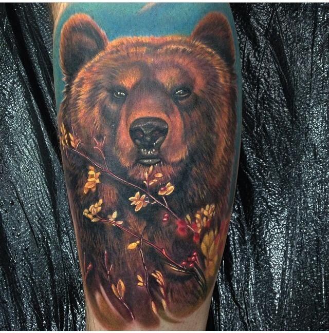 ลายสักหมีสี