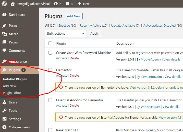 Plugins in WordPress, Component In WordPress