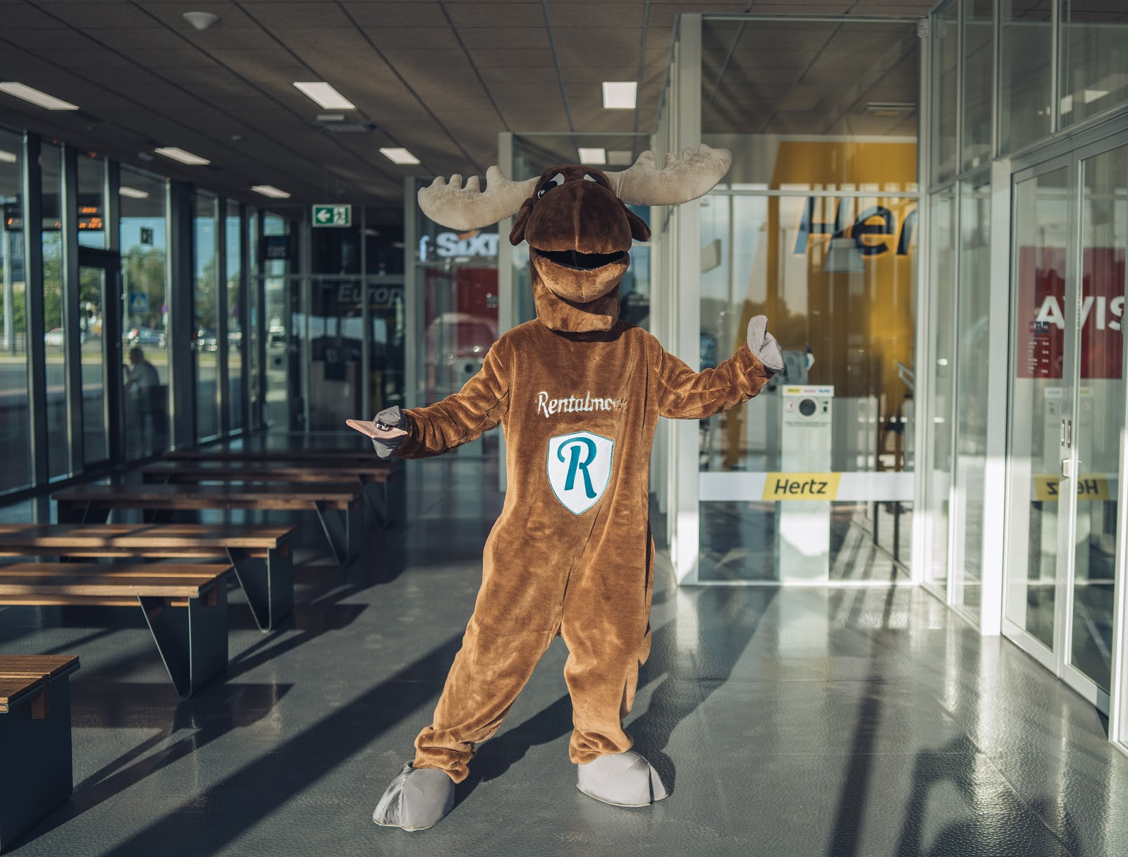 Rental Moose mascot posing at Tallinn airport, in front of Hertz Sixt and Avis rental counters. Rental Moose is a global car rental broker which will help you get the best deal on your next rental car.