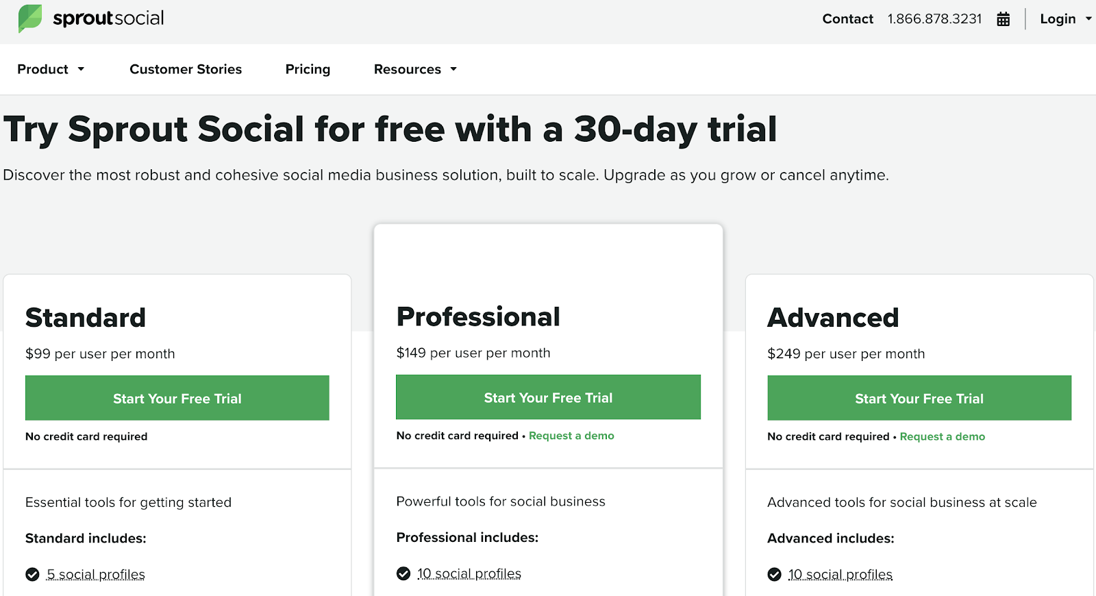 Sprout social pricing page with free trial.