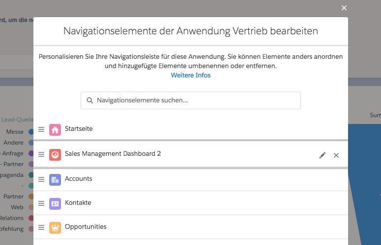 Salesforce Anpassen der Reihenfolge aller Navigationselemente