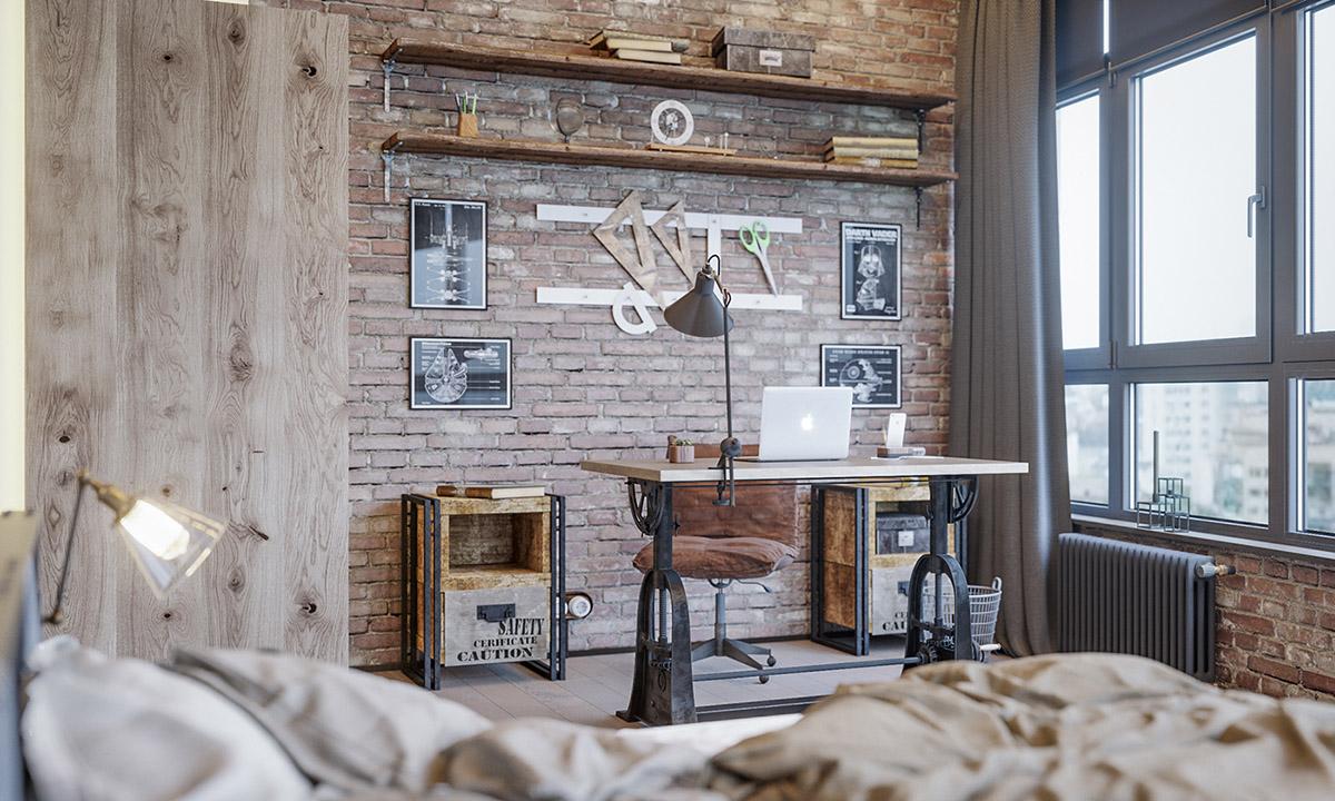 Industrial Bedroom Office