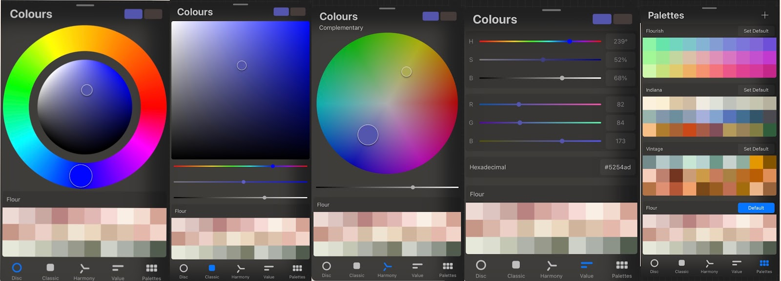 screenshot of Procreate's color palettes