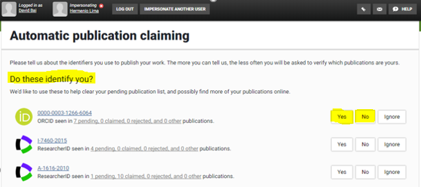 """Box titled """"Automatic Publication Claiming"""" requiring a 'yes', 'no' or 'ignore' response."""