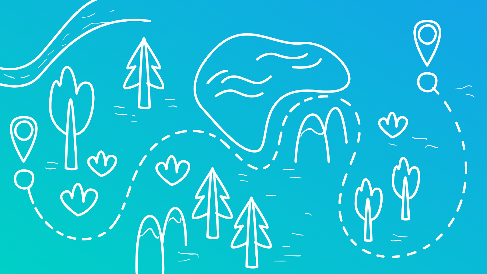 an illustrated picture of a map winding through a forest and lake