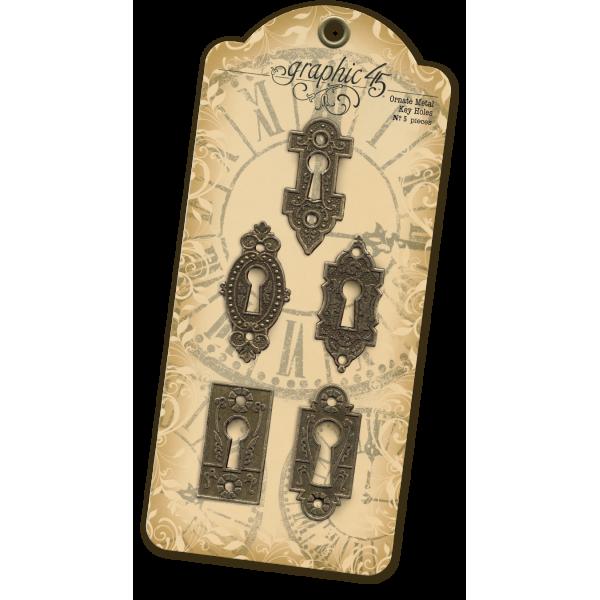 Antique Brass Ornate Metal Key Holes