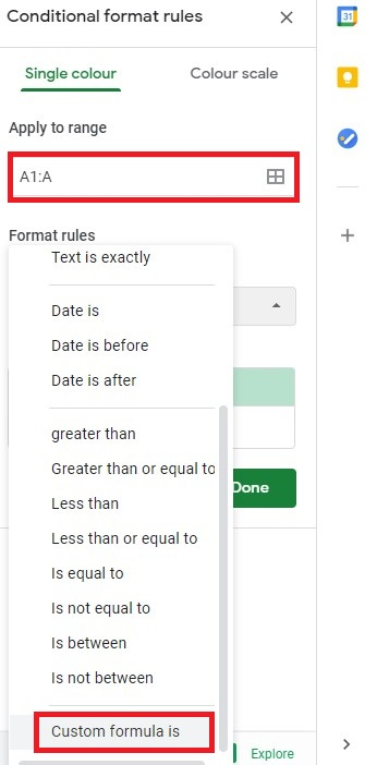 conditional format rules