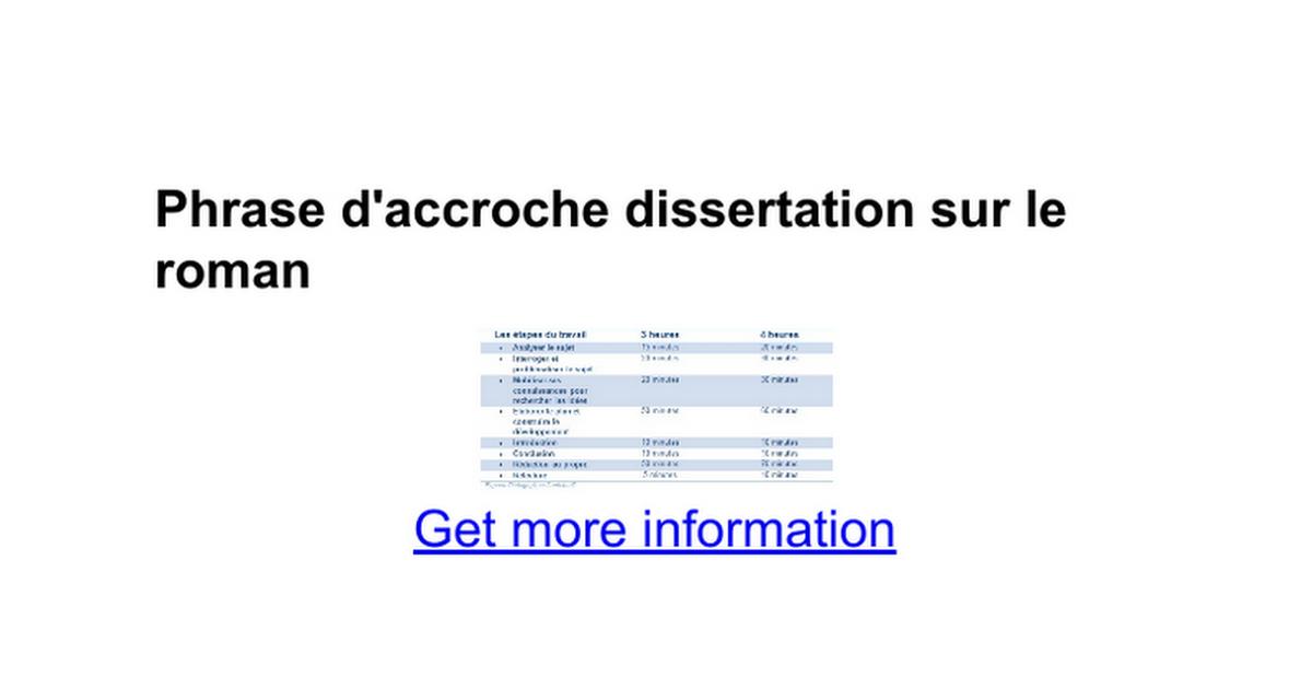 Phrase d'accroche dissertation sur le roman - Google Docs