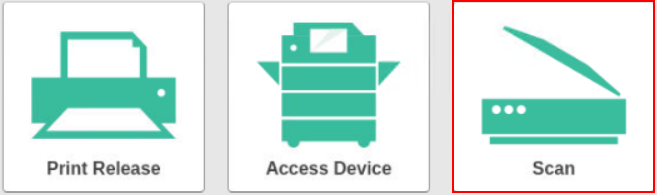Three green icons: Print Release, Access Device, and Scan. Scan is highlighted with a red box