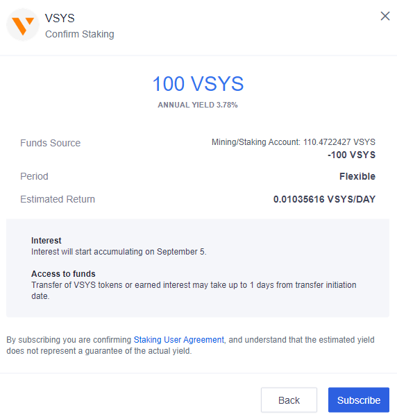 VSYS - Confirm Staking