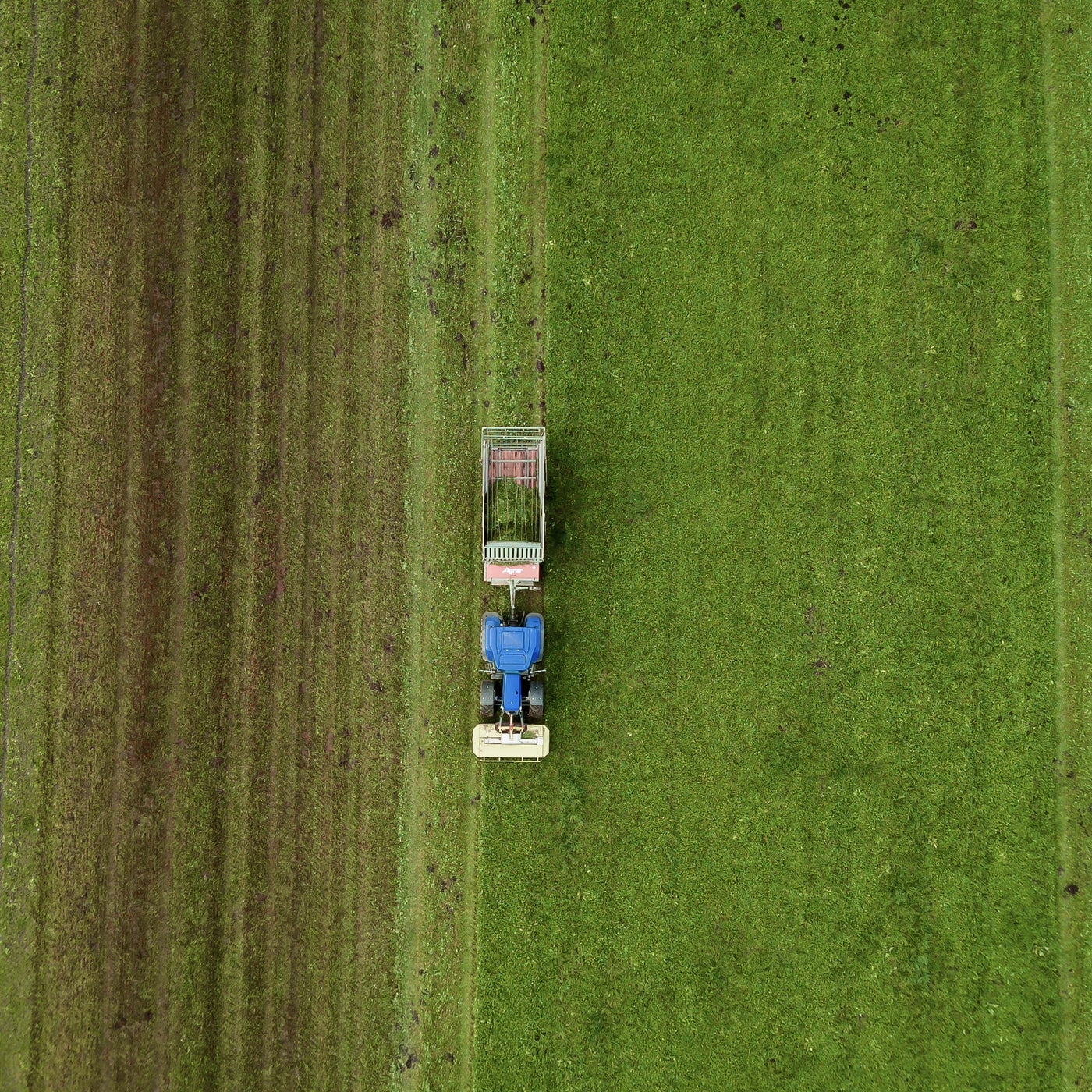 aerial view photograph of tractor driving through a green field of cbd producing plants