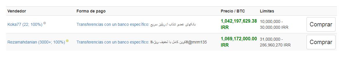 Venta de riales iraníes por BTC en Localbitcoins hoy 3 de Diciembre.