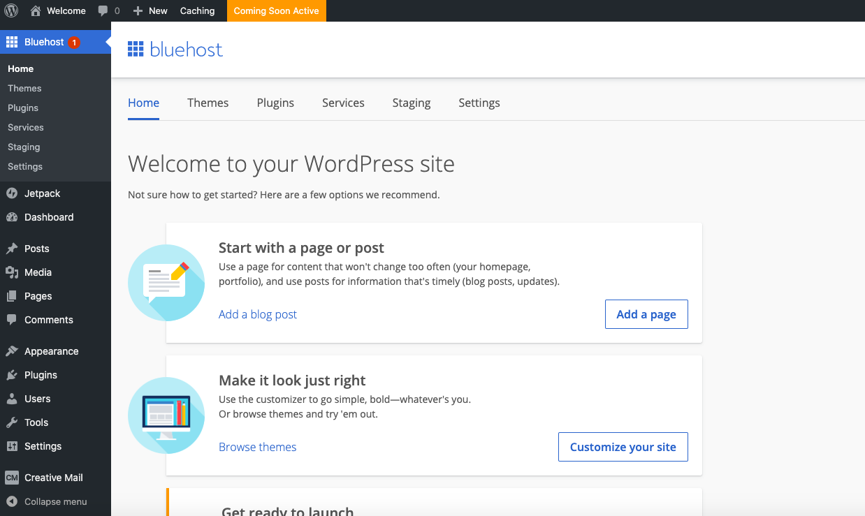 WordPress's interface
