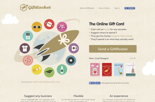 Call to action examples send a giftrocket