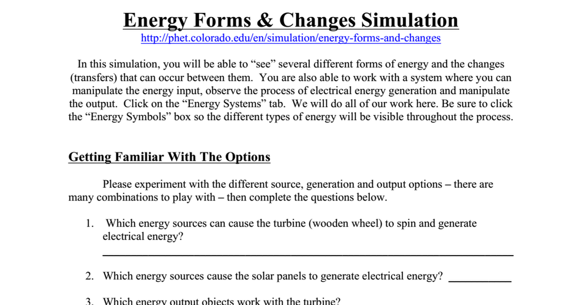 pHet Energy Forms Changes Simulation Worksheetpdf Google Drive – Forms of Energy Worksheet