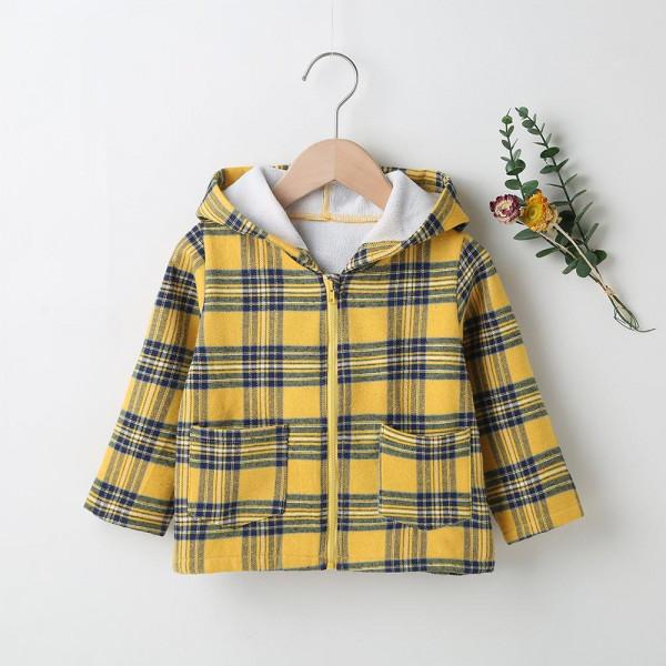 Toddler Unisex Yellow Plaid Hooded Zipper Jacket