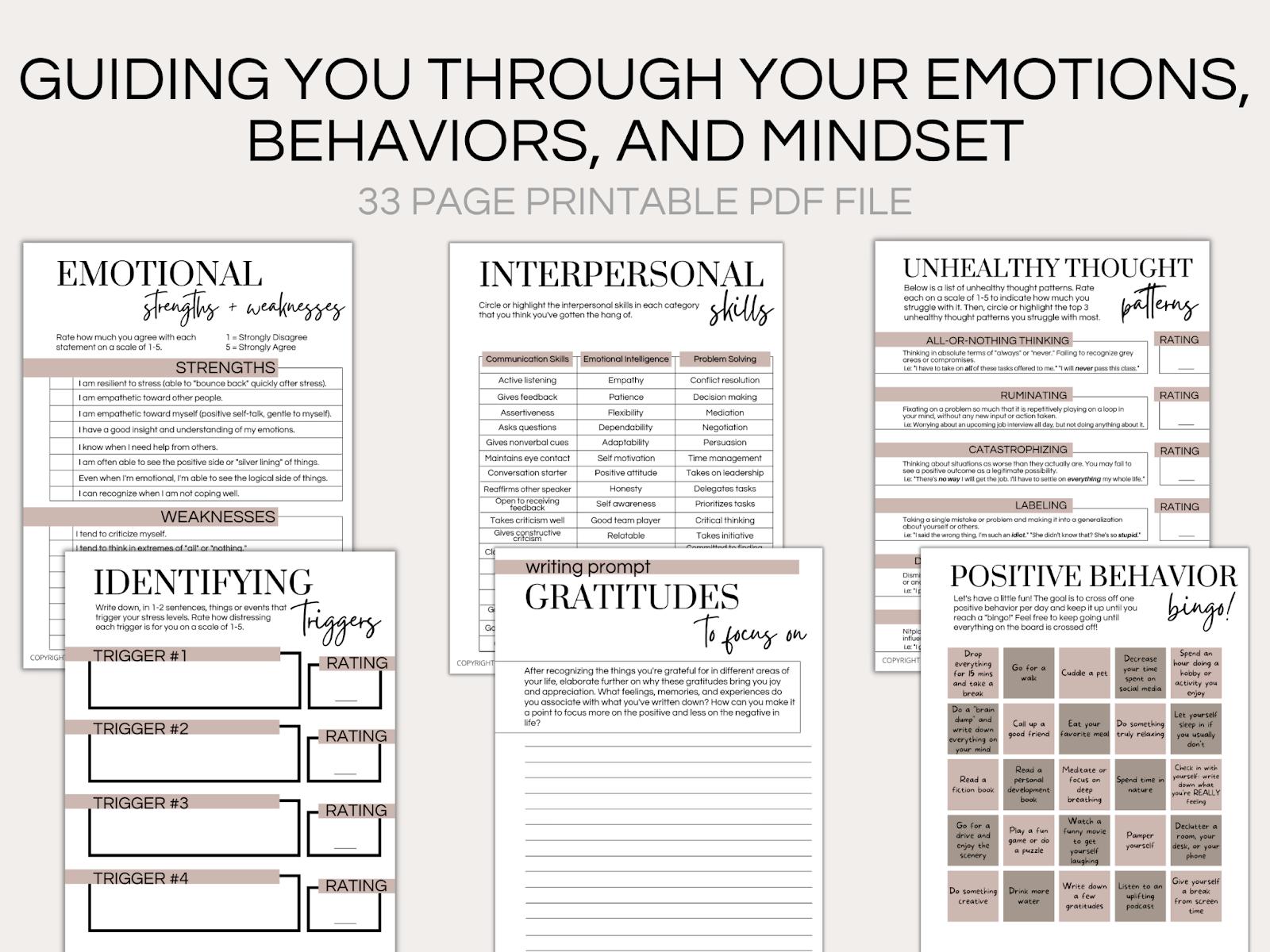 mental health journal template
