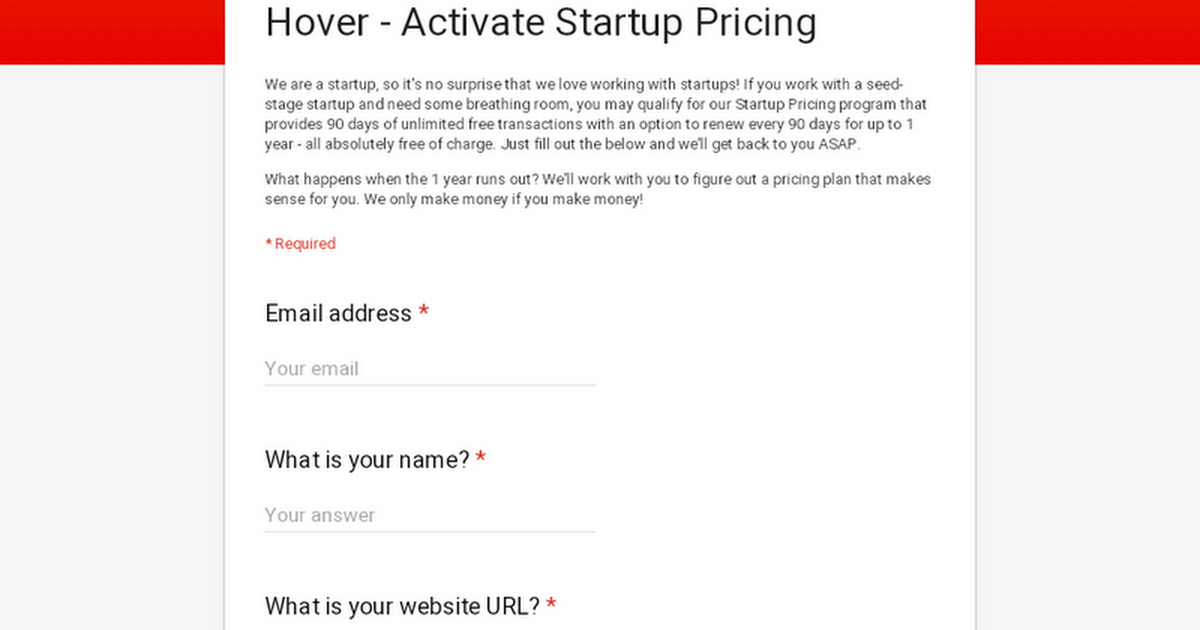 Hover - Apply for Startup Pricing