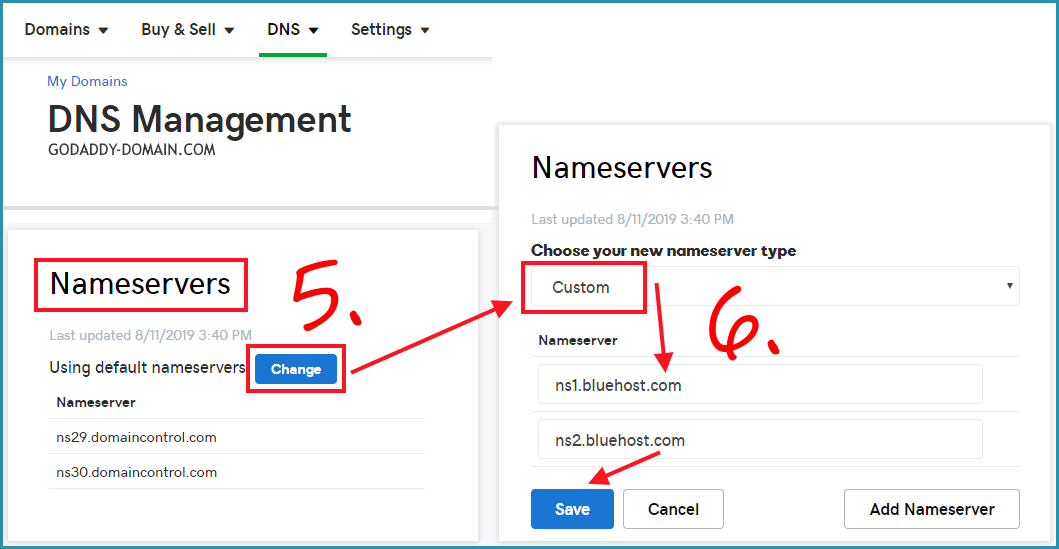 DNS management page on Godaddy account and how to insert NS information to domain